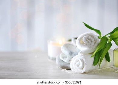 Beautiful composition of spa treatment on wooden table - Shutterstock ID 355531091