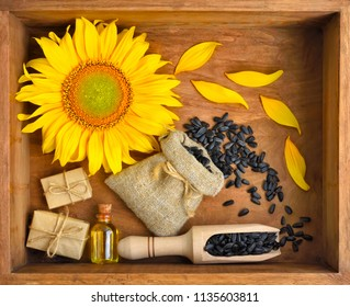 Beautiful composition with sunflower, oil and seeds in bags on wooden background