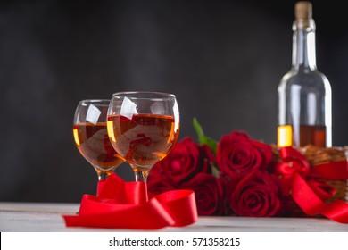 Beautiful composition of valentines stuff on dark background