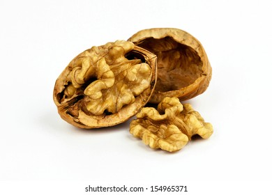 Beautiful composition of a walnut isolated on background.