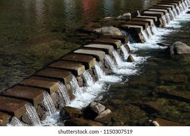 A beautiful concrete weir block Tomoe River at korankei in chubu japan