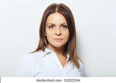 Beautiful confident woman with serious expression