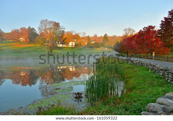 Beautiful Connecticut countryside during foliage season, South Kent, Connecticut, USA