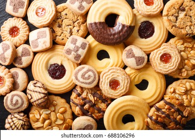 Beautiful cookies assorted close-up. background horizontal view from above