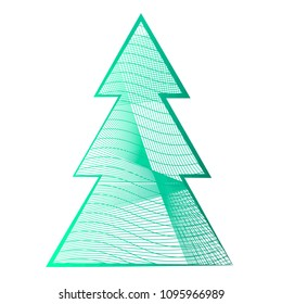 Beautiful cool green Christmas tree of lines on a white background
