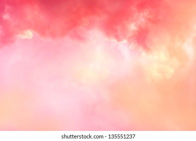 Beautiful coral sky with pink and red clouds