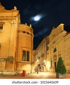 Beautiful corner with the Steccata night shot in the center of Parma, Italy.