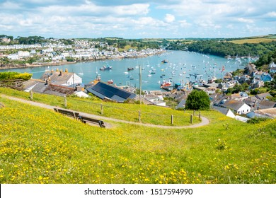 Beautiful Cornish harbour towns of Fowey and Polruan, with boats moored in Fowey Estuary, South Cornwall, UK