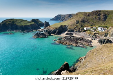 Beautiful Cornish summer scene at Kynance Cove The Lizard near Helston Cornwall England UK on a beautiful sunny summer day with turquoise blue sea and sky