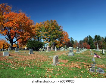 Beautiful country graveyard during the fall season