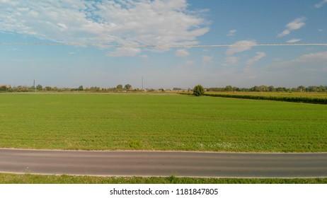 Beautiful countryside road in summer season.
