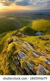 Beautiful Countryside Sunrise On Mountain Ridge, Blencathra, Lake District, UK.