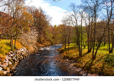 Beautiful Countryside View with River/Stream, Highlands of Scotland, United Kingdom Nature Landscape