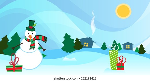Beautiful countryside winter background with a bright winter day, snowman with presents.