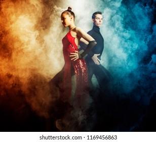 Beautiful couple in the active ballroom dance