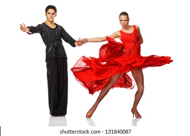 beautiful couple in the active latino dance. Isolated