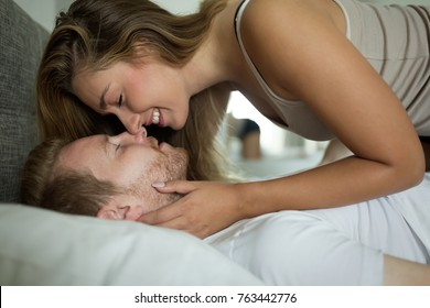 Beautiful couple being passionate