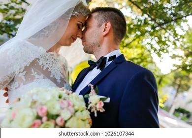 Beautiful couple of bride and groom celebrating wedding