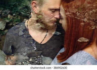beautiful couple hugging each other near a mountain river,multiexposition