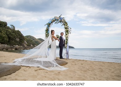 beautiful couple just married on the beach