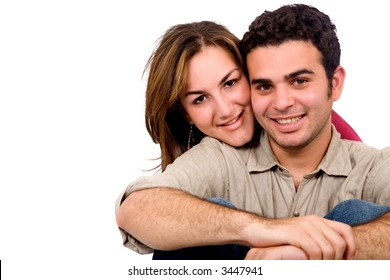 Beautiful couple in love isolated over a white bcakground