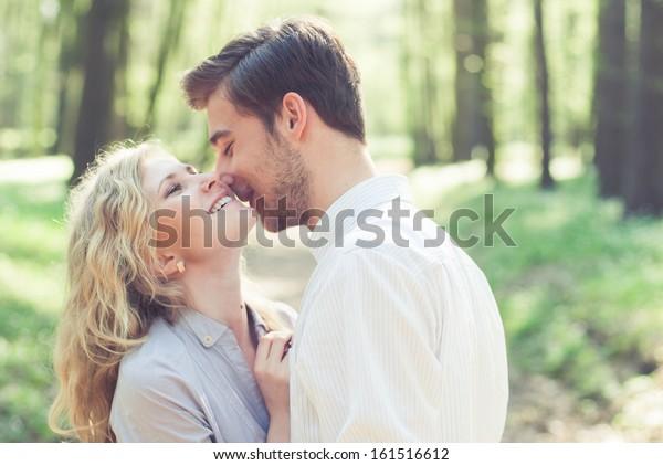 beautiful couple in love. photos in gentle tones