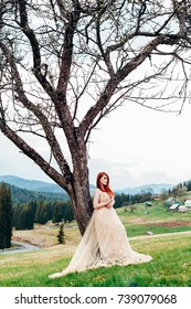 beautiful couple of lovers celebrating a wedding in the mountains