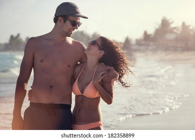 Beautiful Couple on the beach Having Fun in San Andres Island, Colombia