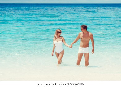 Beautiful couple on the beach of Koh Tao
