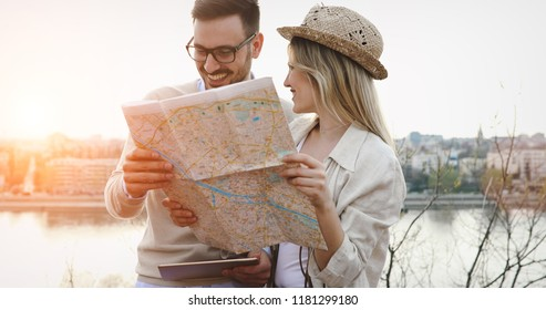 Beautiful couple traveling and sightseeing