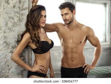 Beautiful couple in underwear