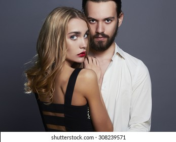 beautiful couple. woman near the man.beauty girl and boy together.love,valentine concept