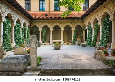 Beautiful courtyard in Stavropoleos Monastery Church in Bucharest, Romania