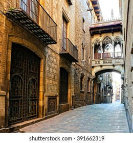 Beautiful covered bridge in the Gothic Quarter of old Barcelona, Spain