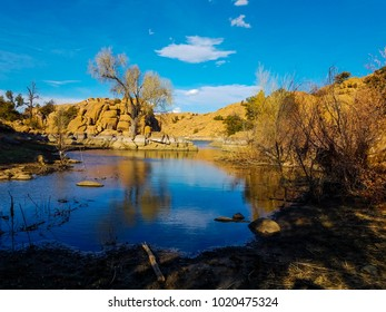 The beautiful coves of Willow Lake in the Granite Dells of Prescott Arizona, are neatly tucked between the steep cliffs  that surround the lake.