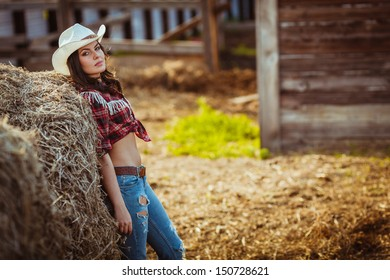 beautiful cowgirl style model posing on farmland, copy space