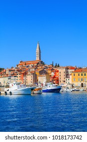 Beautiful and cozy medieval town of Rovinj, colorful with houses and church the harbor in Croatia, Europe