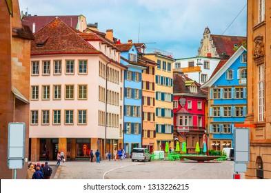 Beautiful cozy street in the city center of Zurich, Switzerland