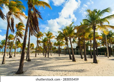 Beautiful Crandon Park Beach with rental cabanas located in Key Biscayne in Miami.