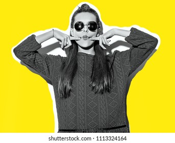 """beautiful crazy smiling brunette woman girl in casual hipster summer colorful clothes with red lips isolated on white  in sunglasses making funny """"fish-face"""""""