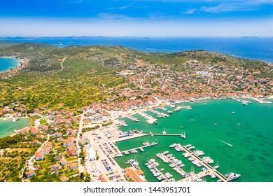 Beautiful Croatian coast, Murter island archipelago and town of Murter from air, Dalmatia Croatia