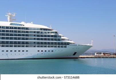 Beautiful cruise ship and blue sea, Korfu, Greece