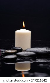 beautiful cryogenic spa concept of zen stones with drops