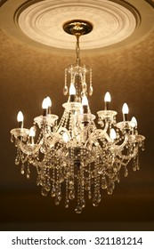 beautiful crystal chandelier in ambient light