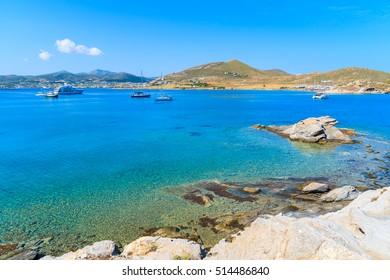 Beautiful crystal clear sea water of Monastiri bay on Paros island, Greece