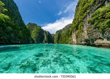 Beautiful crystal clear water at Pileh bay at Phi Phi island near Phuket, Thailand
