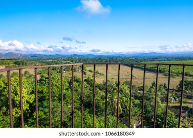 Beautiful Cuban countryside, point of view from the Manaca Iznaga tower. The colonial village of Trinidad is a Unesco World Heritage Site and a major tourist attraction in the Caribbean Island