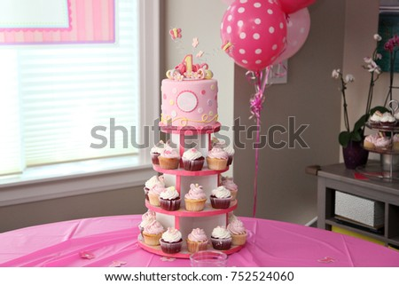Beautiful Cupcake Cakes And Birthday Cake Arrangement For Celebration