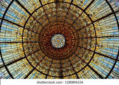 Beautiful cupola ceiling at Palau de la musica, Barcelona, Spain, 2014