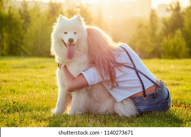 beautiful curly blonde happy young woman in denim shorts hugging a white fluffy cute samoyed dog in the summer park sunset rays field background . pet and hostess back view